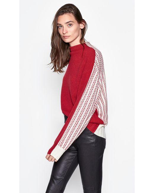 Equipment Red Veleraine Wool & Cashmere Mockneck Sweater