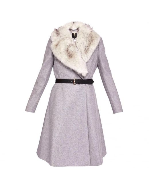 Ted Baker | Gray Narnia Faux Fur Collar Coat | Lyst