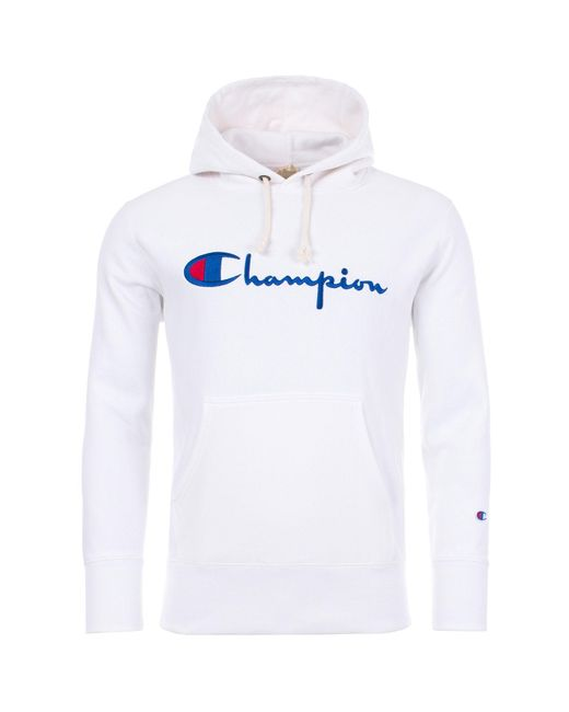 Champion - White Script Logo Reverse Weave Fleece Lined Hoodie for Men - Lyst