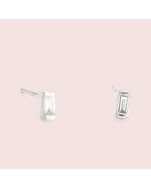 Erica Weiner - Pink Diamond Baguette Studs (white Gold) - Lyst