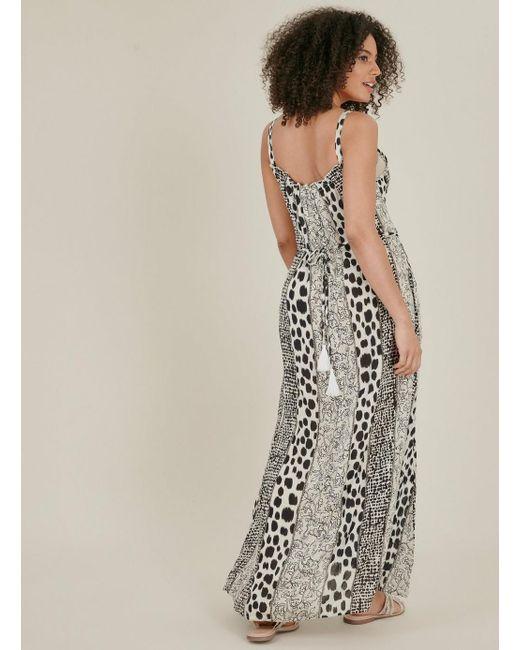 ba497d0c ... Evans - Multicolor Monochrome Print Tassel Maxi Dress - Lyst ...