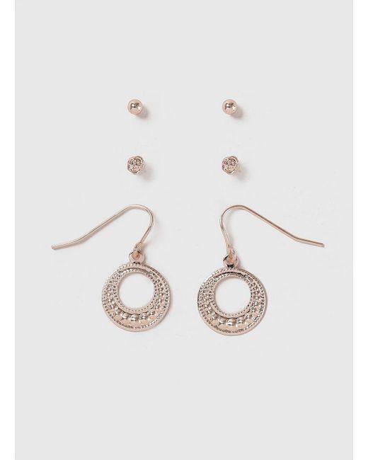 Evans - Metallic Rose Gold Earrings Pack - Lyst