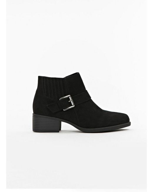 Evans - Wide Fit Black Elastic Detail Ankle Boots - Lyst