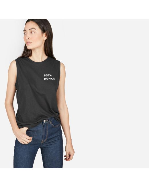 Everlane - Black The 100% Human Muscle Tank In Small Print - Lyst