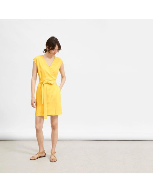 390f81f3c03 Everlane - Yellow The Japanese Goweave Short-sleeve Mini Wrap Dress - Lyst  ...