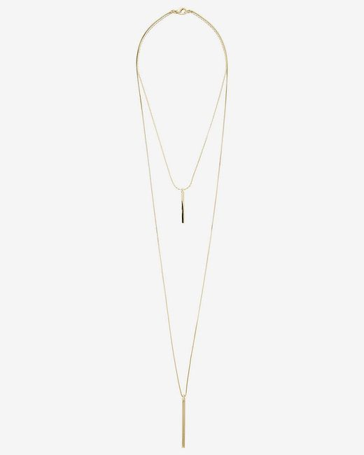 Express | Metallic Metal Stick Hi Lo Necklace | Lyst