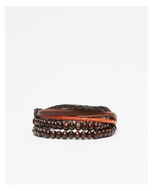 Express - Brown Ead And Leather Stretch Bracelet - Lyst