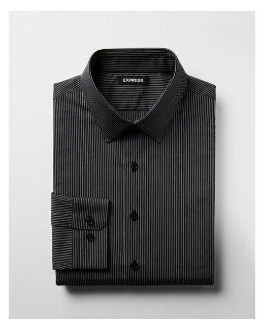 Express - Black Slim Fit Striped Cotton Dress Shirt for Men - Lyst