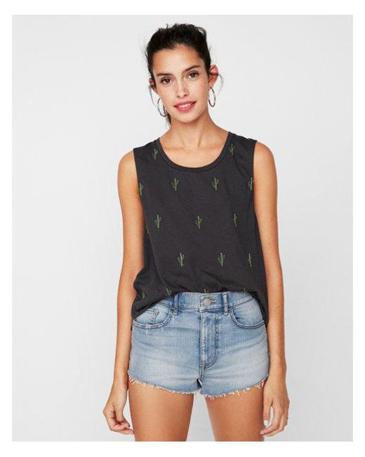 Lyst Express Petite One Eleven Cacti Embroidery Muscle Tank In Gray