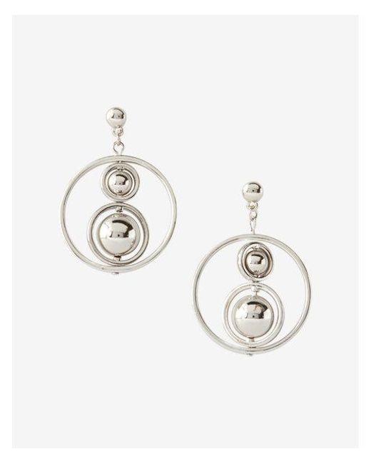 Express - Metallic Ball Orbit Hoop Earrings - Lyst