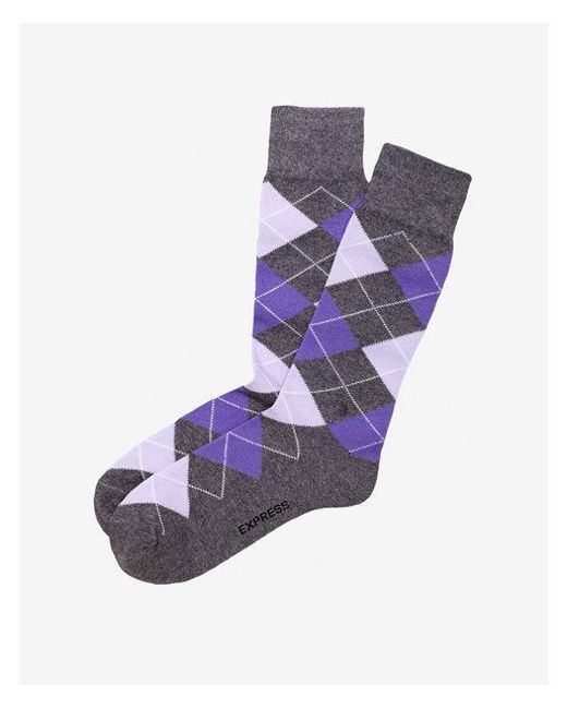 Express - Purple Argyle Dress Socks for Men - Lyst