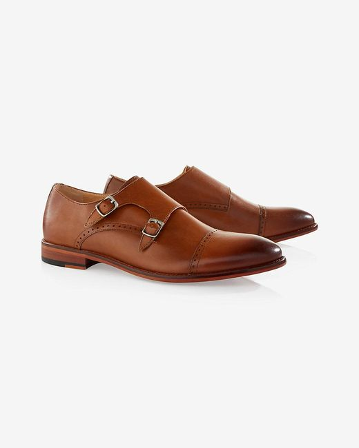 express cap toe monk dress shoe in brown for