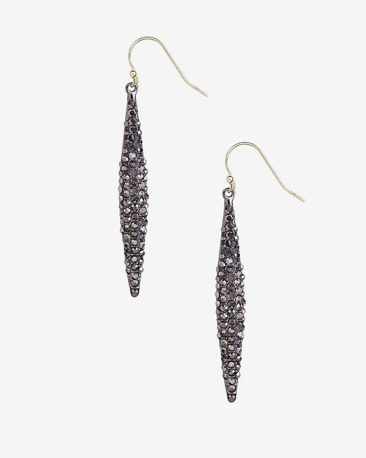 Express | Metallic Pave Embellished Oblong Drop Earrings | Lyst