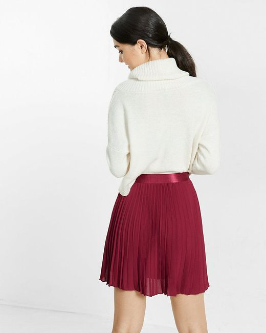 express high waisted pleated mini skirt in lyst
