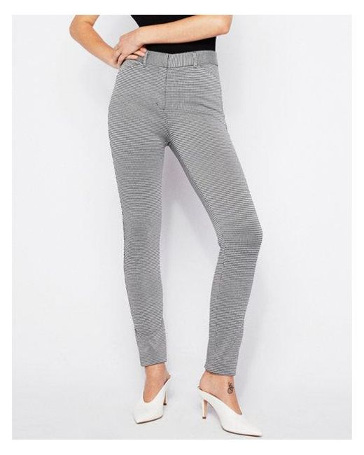 Express - Gray High Waisted Houndstooth Skinny Pant - Lyst