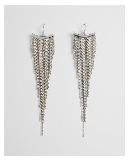 Express - Metallic Graduated Metal Fringe Earrings - Lyst