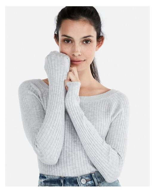 Express - Gray Ribbed Bateau Neck Sweater - Lyst