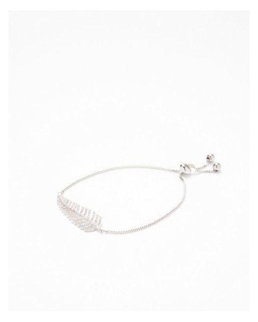 Express - Metallic Cubic Zirconia Leaf Pull Chain Bracelet - Lyst
