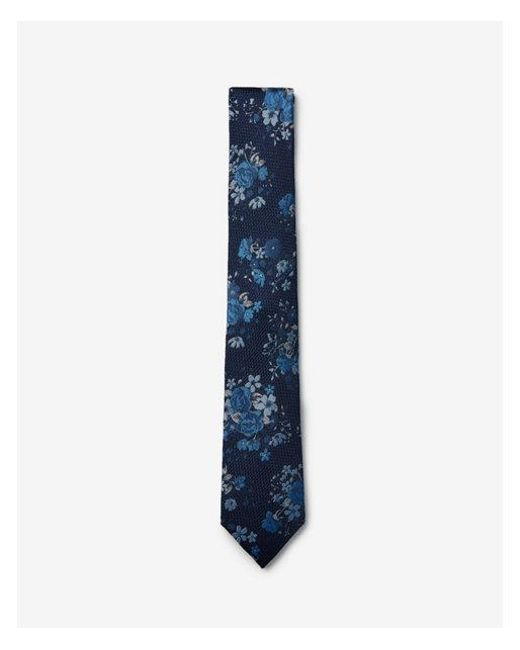 Express - Blue Narrow Floral Silk Tie for Men - Lyst