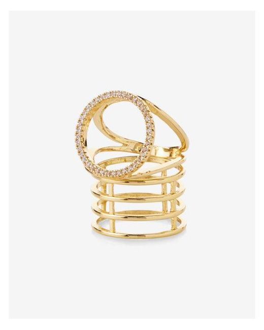 Express | Metallic Set Of Two Pave Circle Metal Cage Rings | Lyst