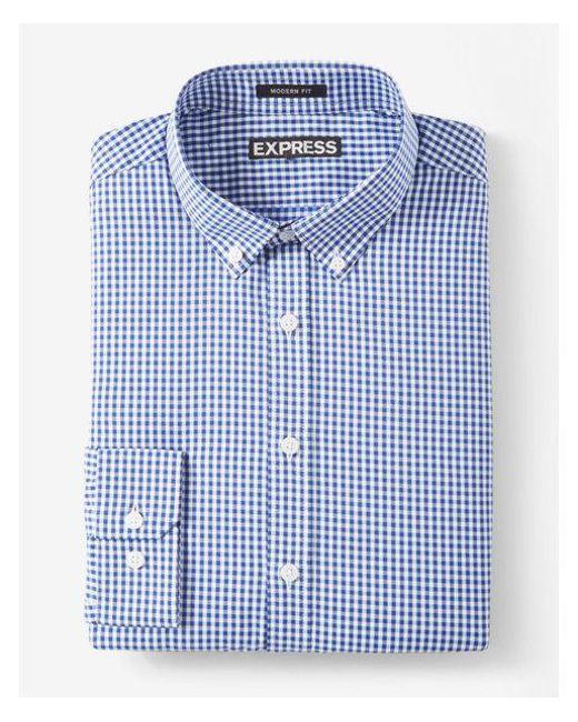 Express   Blue Modern Fit Small Plaid Performance Dress Shirt for Men   Lyst