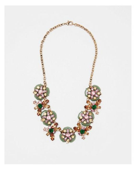 Express - Metallic Layered Mixed Stone Statement Necklace - Lyst