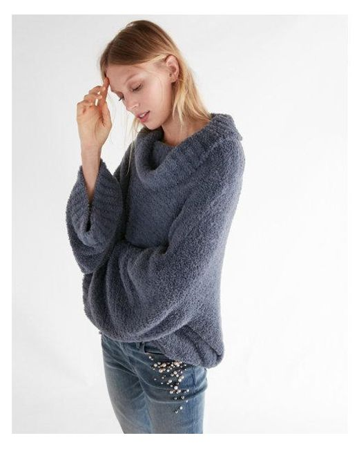 Express Petite Mini Feather Cowl Neck Sweater in Blue | Lyst