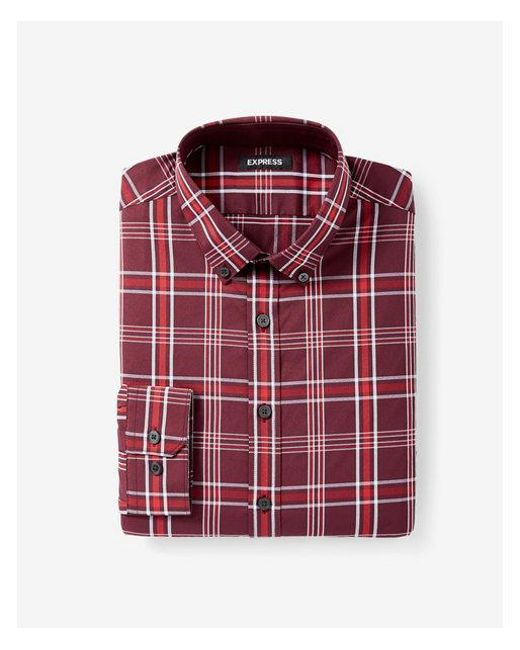 Express - Red Slim Fit Plaid Performance Shirt for Men - Lyst