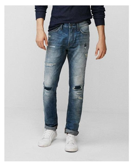 Express - Blue Slim Medium Wash Destroyed 100% Cotton Jeans, Men's Size:w28 L28 for Men - Lyst