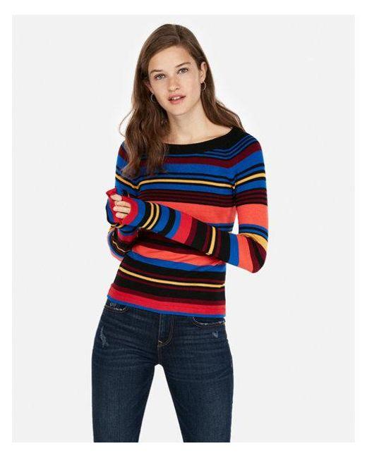 Express - Blue Petite Stripe Bateau Neck Fitted Sweater - Lyst