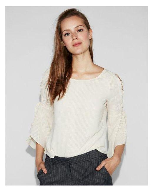 Express - White Seersucker Print Tie Sleeve Blouse - Lyst