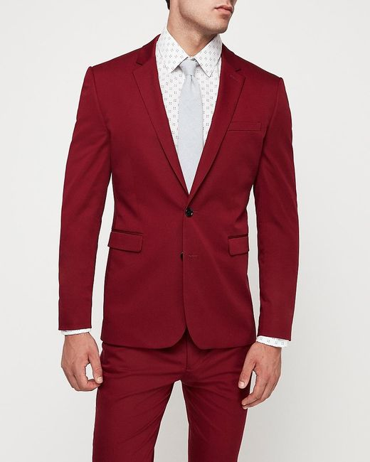 Express Extra Slim Varsity Red Cotton-blend Stretch Suit Jacket Red for men