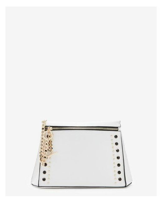 Express - White Stud And Chain Clutch - Lyst