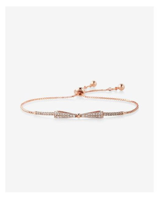 Express - Metallic Bow Pull Chain Bracelet - Lyst