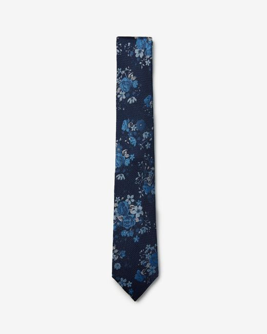 Express - Narrow Floral Silk Tie Blue for Men - Lyst