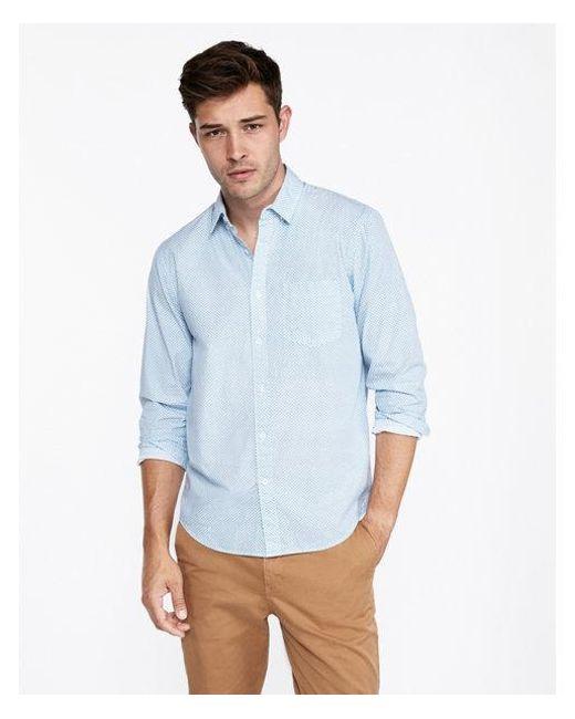 cb38e1f3 Express. Men's Blue Ig & Tall Classic Micro Floral Soft Wash Button-down  Shirt