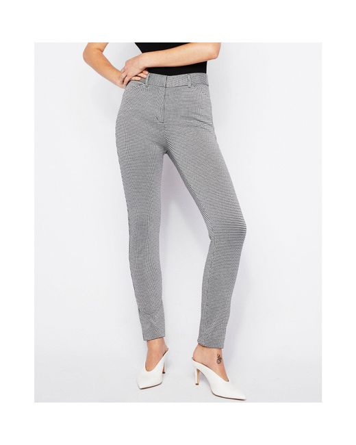 Express - Gray High Waisted Houndstooth Skinny Pant Black And White - Lyst