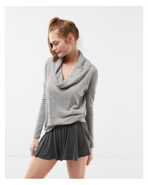 Express Brushed Convertible Cowl Neck Tee in Gray | Lyst