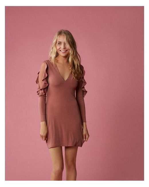 Express | Orange Ruffle Sleeve Mini Sheath Dress | Lyst