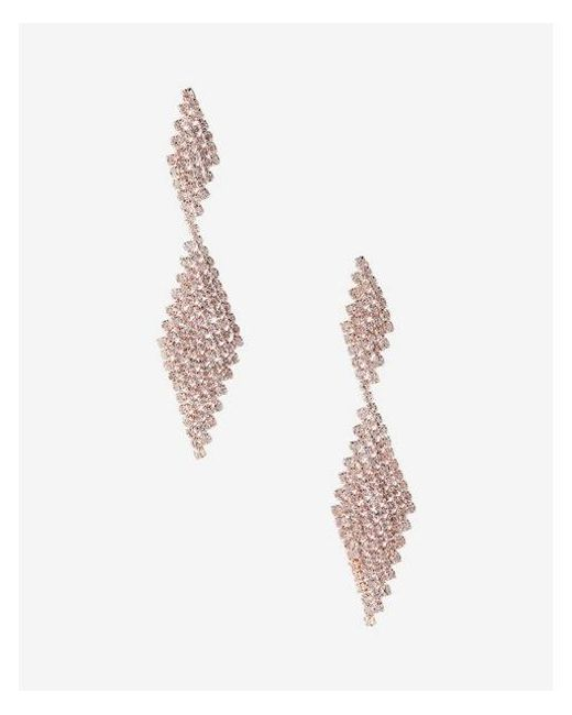 Express - Metallic Rhinestone Post Back Drop Earrings - Lyst