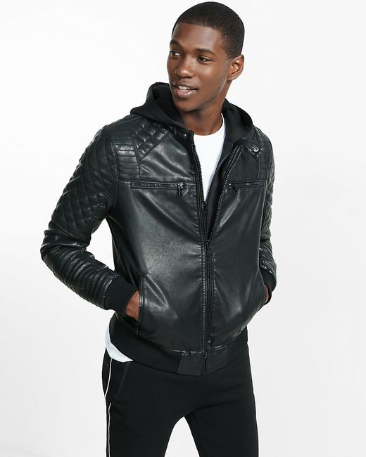 Hoodie with Leather Look Panel