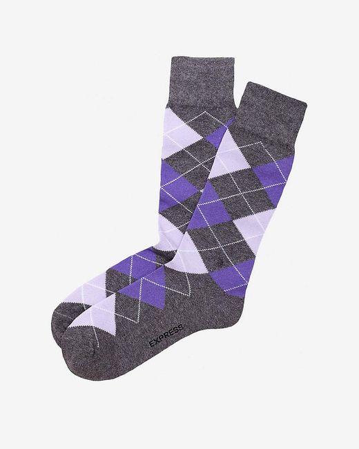 Express | Purple Argyle Dress Socks for Men | Lyst