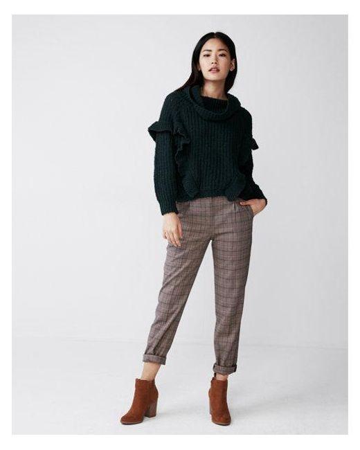 Express - Green Oversized Ruffle Cowl Neck Sweater - Lyst