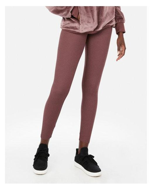 ff8cf4a3465b8a Express High Waisted Ribbed Supersoft Leggings in Brown - Lyst