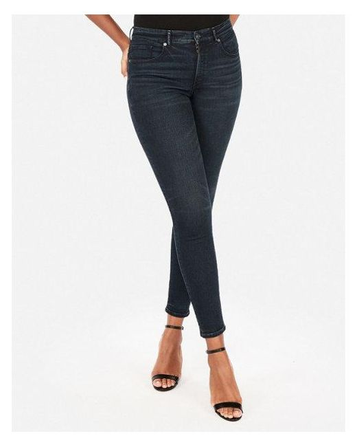 Express - Blue High Waisted Perfect Curves Dark Wash Jeggings - Lyst