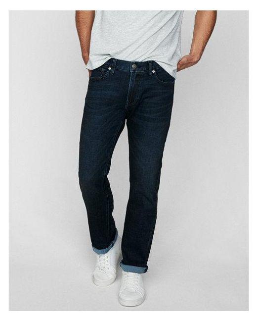 Express - Blue Slim Straight Dark Wash Stretch+ Soft Cotton Jeans, Men's Size:w28 L30 for Men - Lyst