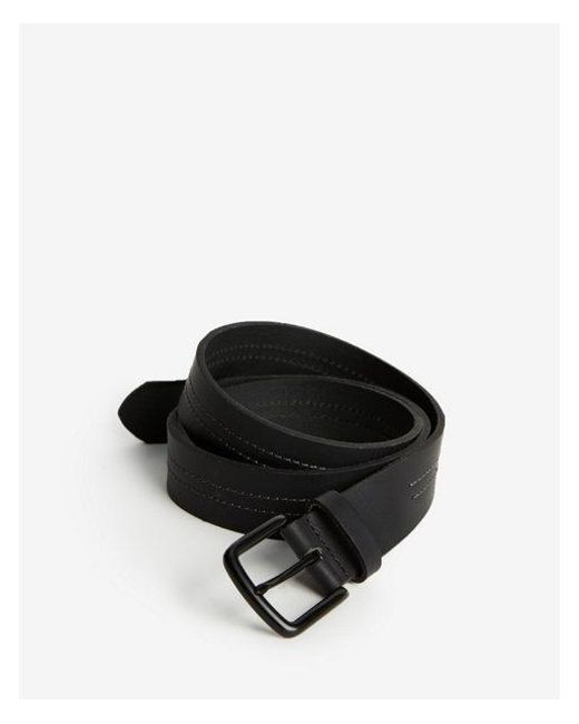 Express - Black Double Stitched Prong Belt for Men - Lyst