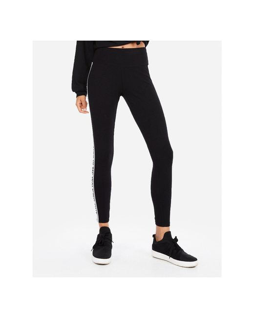 Express - High Waisted Sexy Stretch This Is Me Graphic Leggings Black - Lyst