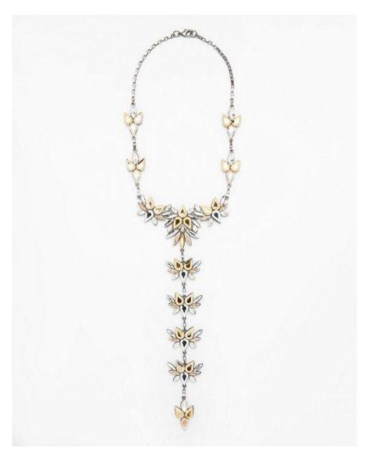 Express - Metallic Mixed Stone Statement Necklace - Lyst