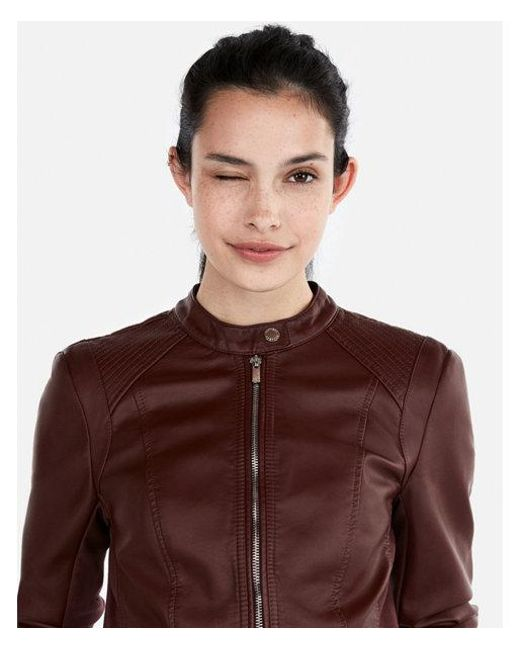 Lyst Express Petite Double Peplum Faux Leather Jacket In Brown
